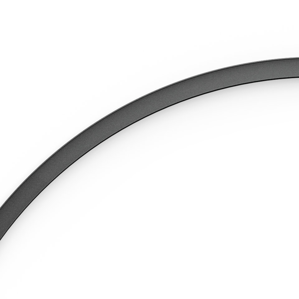 A.24 - Recessed Magnetic Track - Curved Joining Elements (not magnetic) - 750mm - 45° - Black