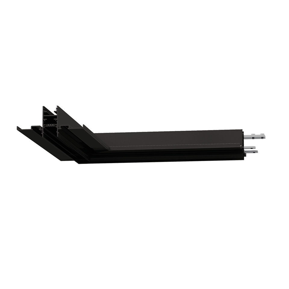 A.24 - Recessed Magnetic Track - 90° Recessed Track Corner (on same plane) - Black