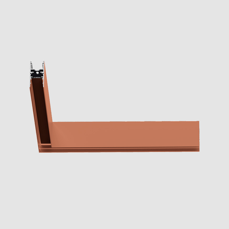 A.24 - Ceiling Magnetic Track - 90° Ceiling Track Corner (on same plane) - Brushed Copper