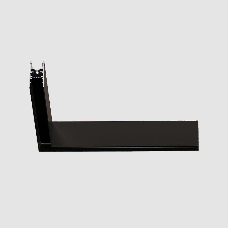 A.24 - Ceiling Magnetic Track - 90° Ceiling Track Corner (on same plane) - Black