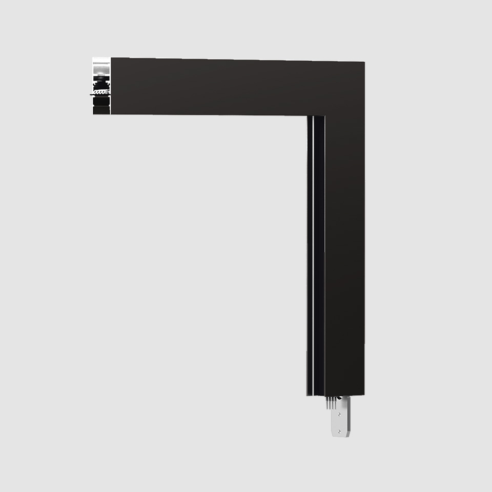 A.24 - Ceiling Magnetic Track - 90° Ceiling Track Corner (on perpendicular planes) - Black