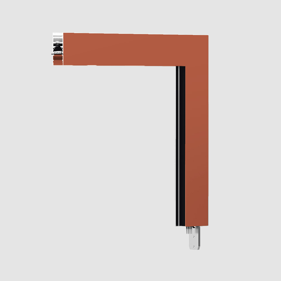 A.24 - Ceiling Magnetic Track - 90° Ceiling Track Corner (on perpendicular planes) - Brushed Copper