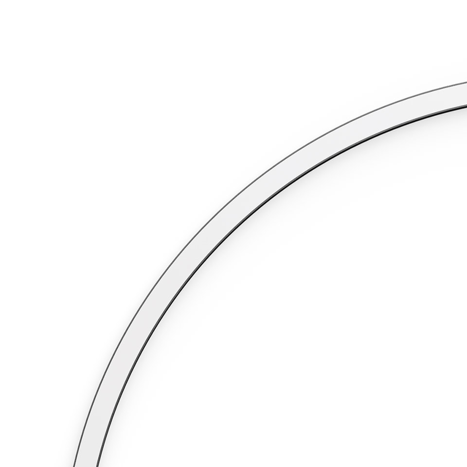 A.24 - Wall/Ceiling Diffused Emission - Curved Elements - R=750mm - α=90° - 3000K - Brushed Silver