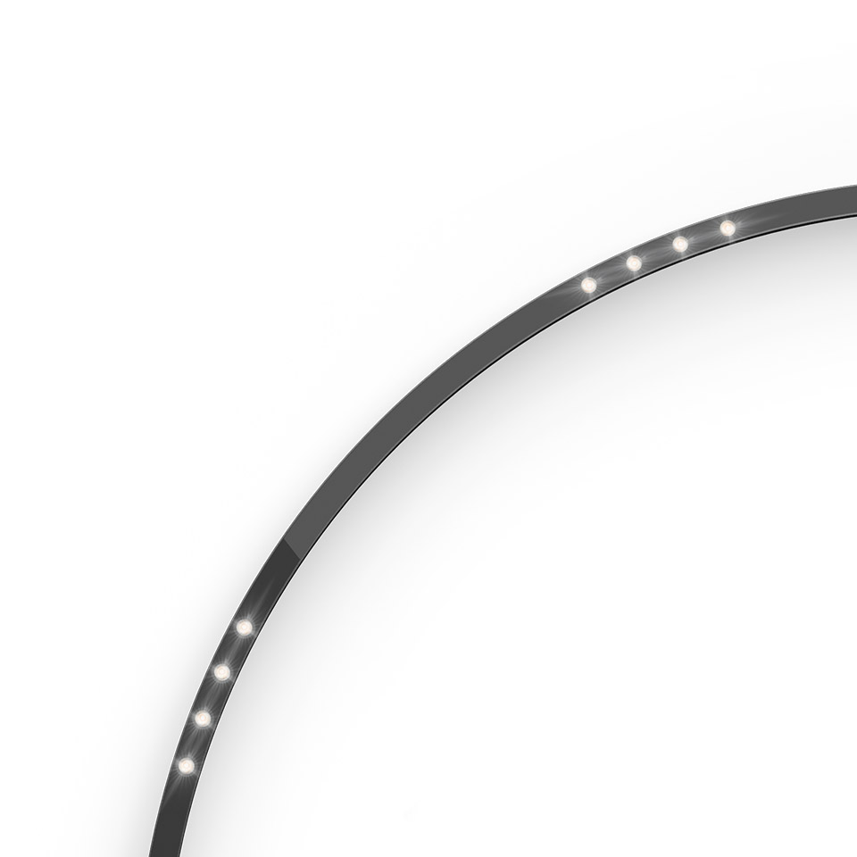 A.24 - Ceiling Sharping Emission - Curved Elements - 62° - R=750mm - α=90° - 3000K - Brushed Silver