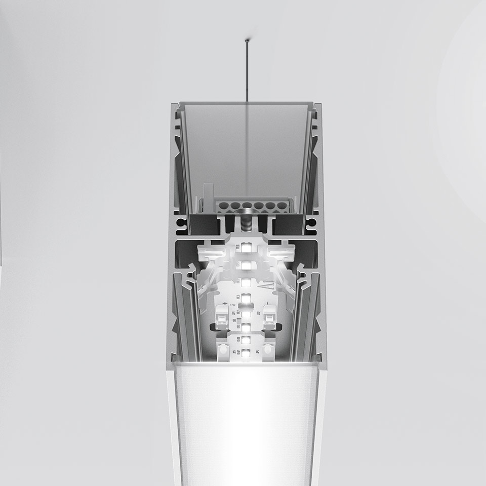 A.39 Suspension/Ceiling - Structural Module 2368mm - Direct Emission - 3000K - Undimmable - Silver