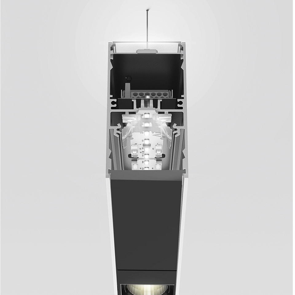 A.39 Suspension - Direct + Indirect Emission - 2368mm - 20° - 3000K - Dimmable DALI - 6x4 Optics - Black