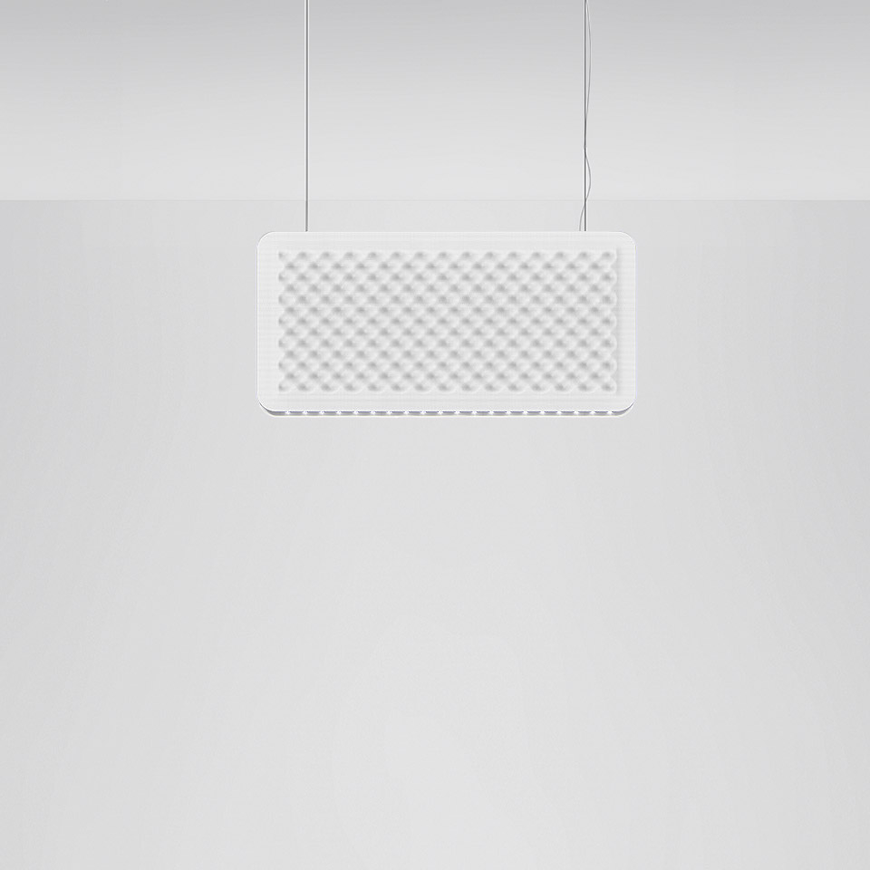 Eggboard Baffle - 800x400 - Suspension - Direct Sharp + Indirect Diffused - 3000K - Dimmable DALI - White Cream