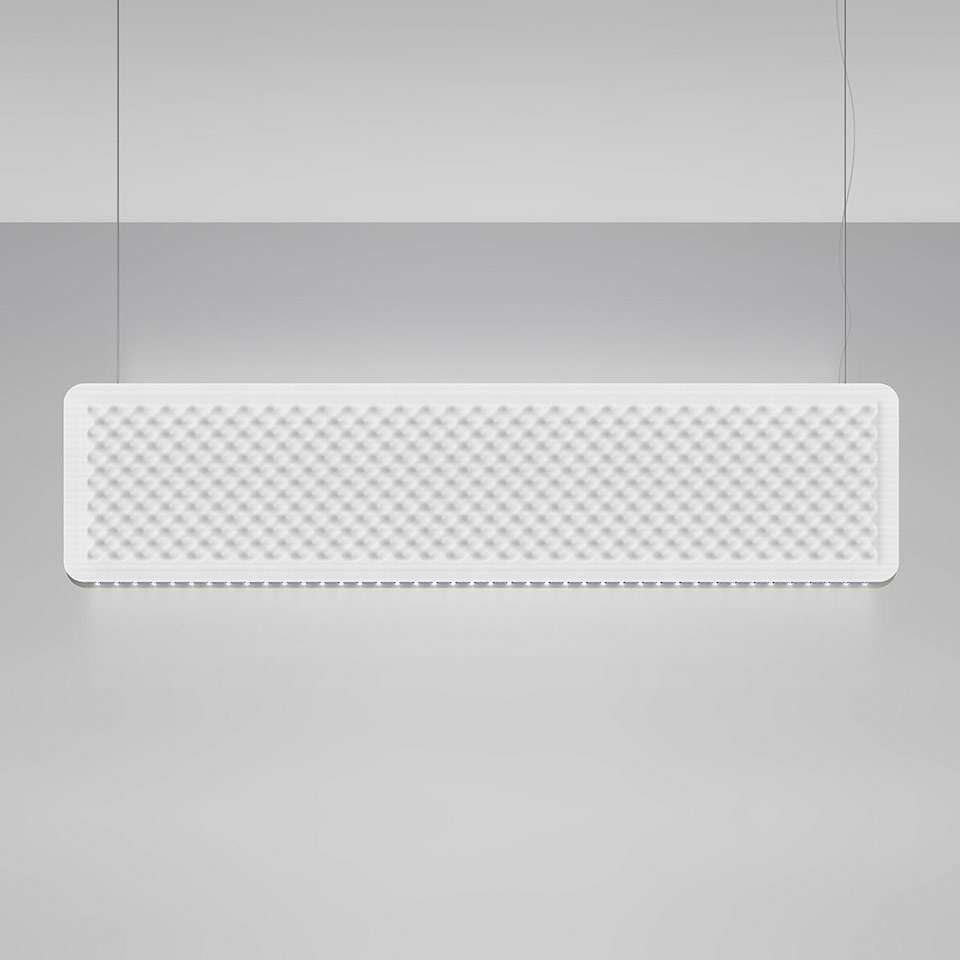 Eggboard Baffle - 1600x400 - Suspension - Direct Diffused + Indirect Diffused - 3000K - Dimmable DALI - White Cream