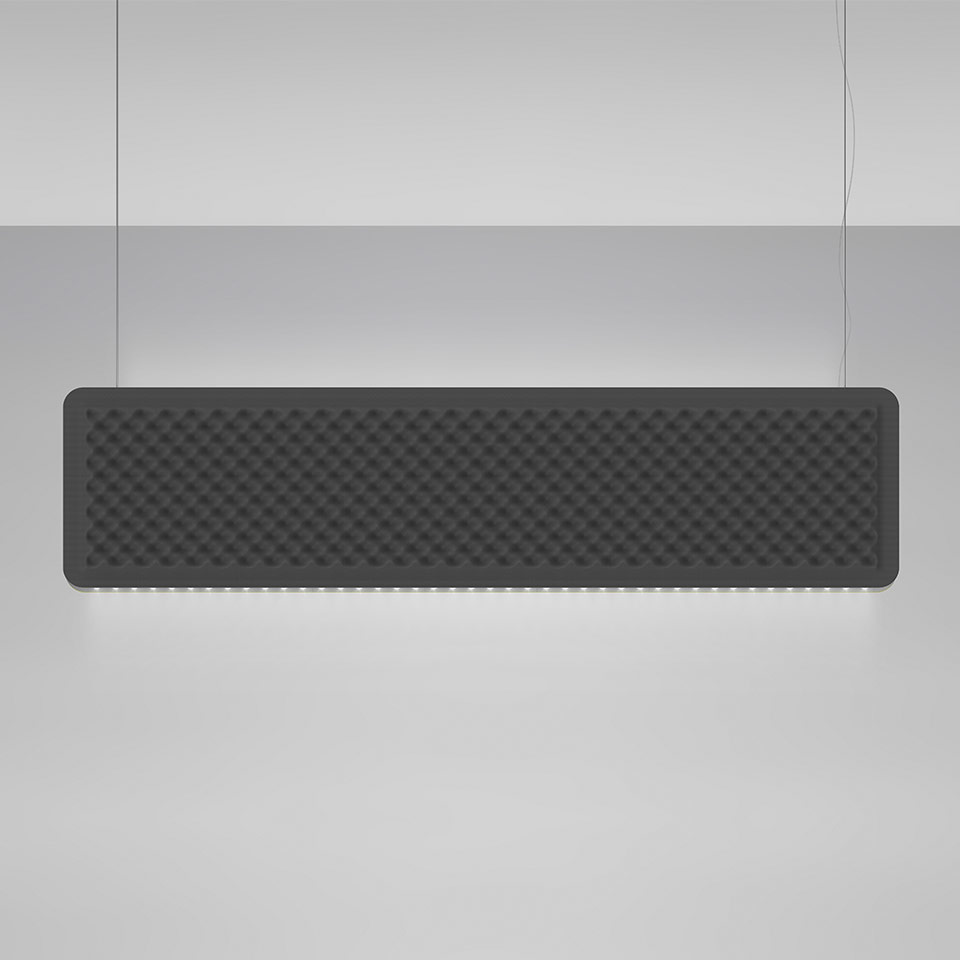 Eggboard Baffle - 1600x400 - Suspension - Direct Diffused + Indirect Diffused - 3000K - Dimmable DALI - Grey