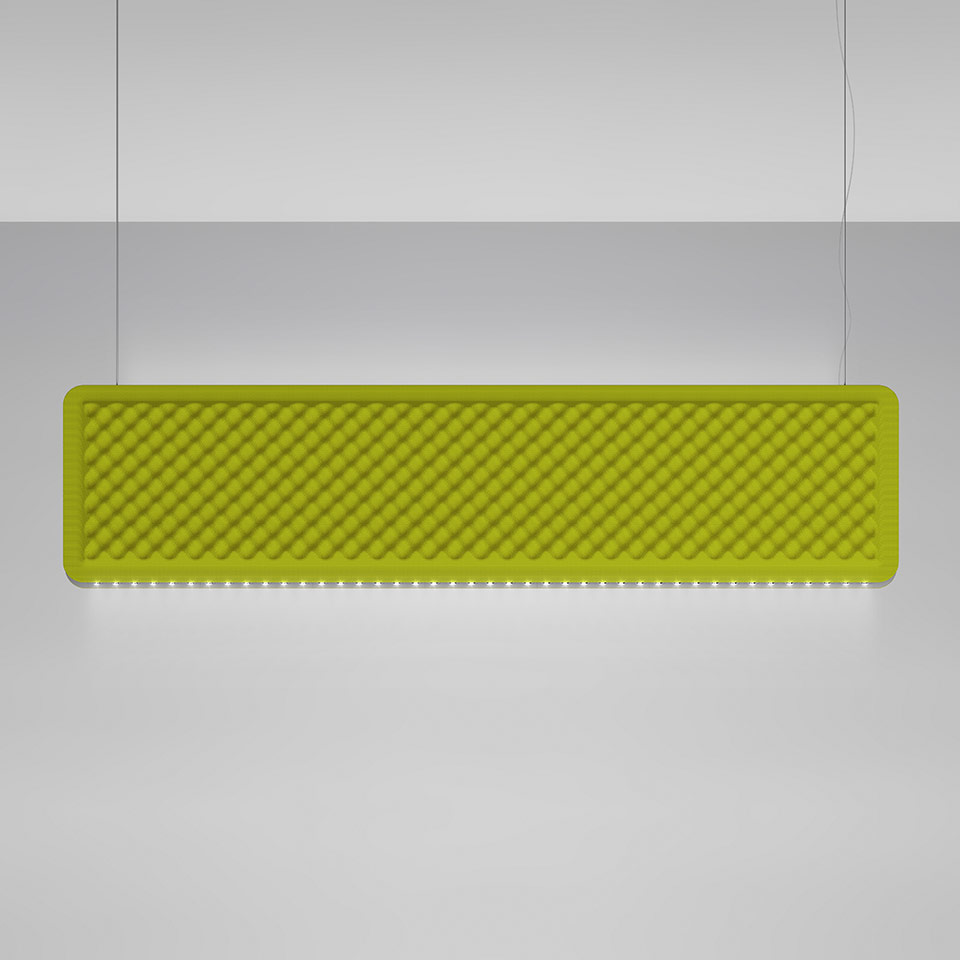 Eggboard Baffle - 1600x400 - Suspension - Direct Diffused + Indirect Diffused - 3000K - Dimmable DALI - Green
