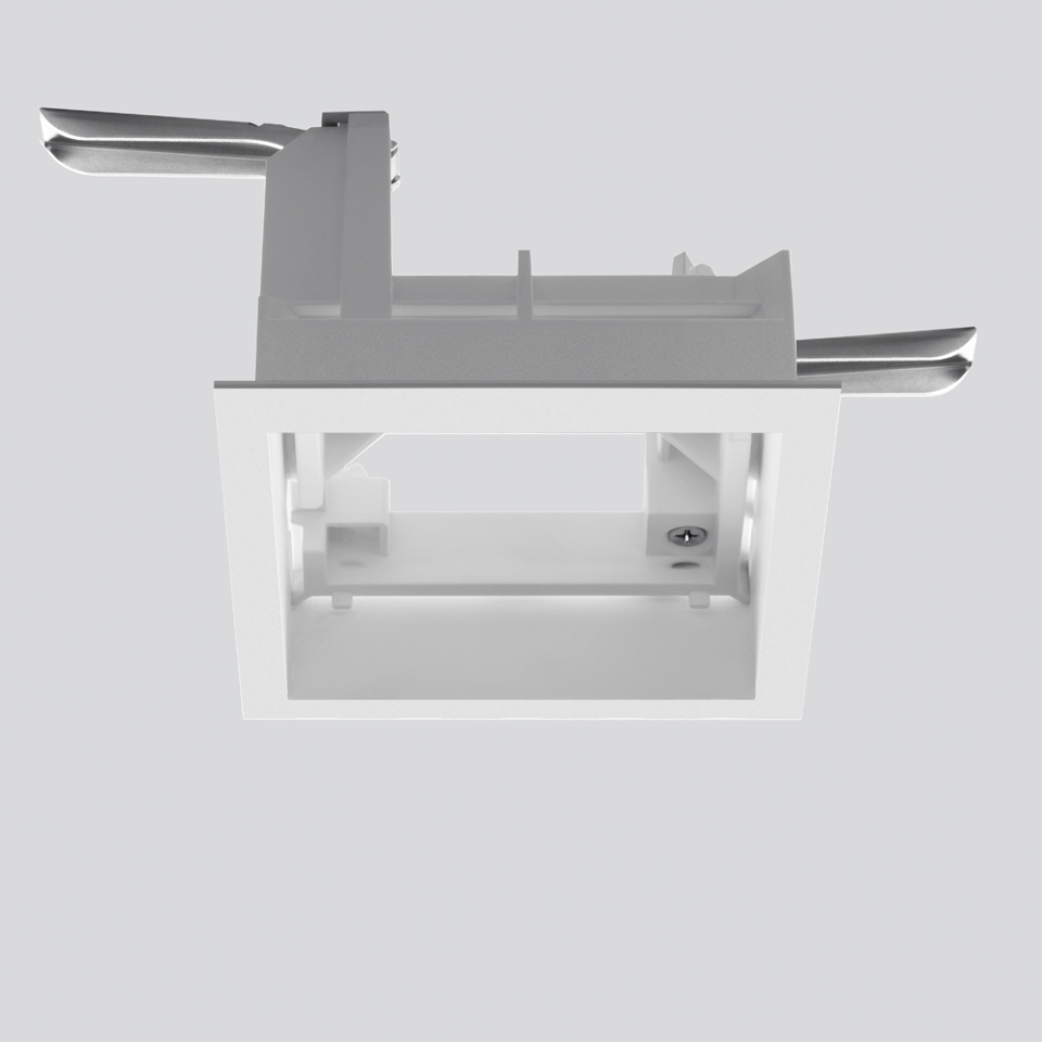Frame for recessed installation for 3 optic units - Trim - 103x271 - White