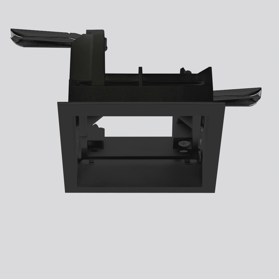 Frame for recessed installation for 3 optic units - Trim - 103x271 - Negro
