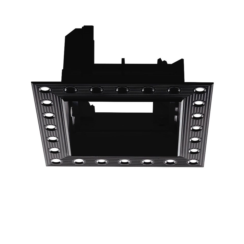 Frame for recessed installation for 3 optic units - Trimless - 103x271 - Negro