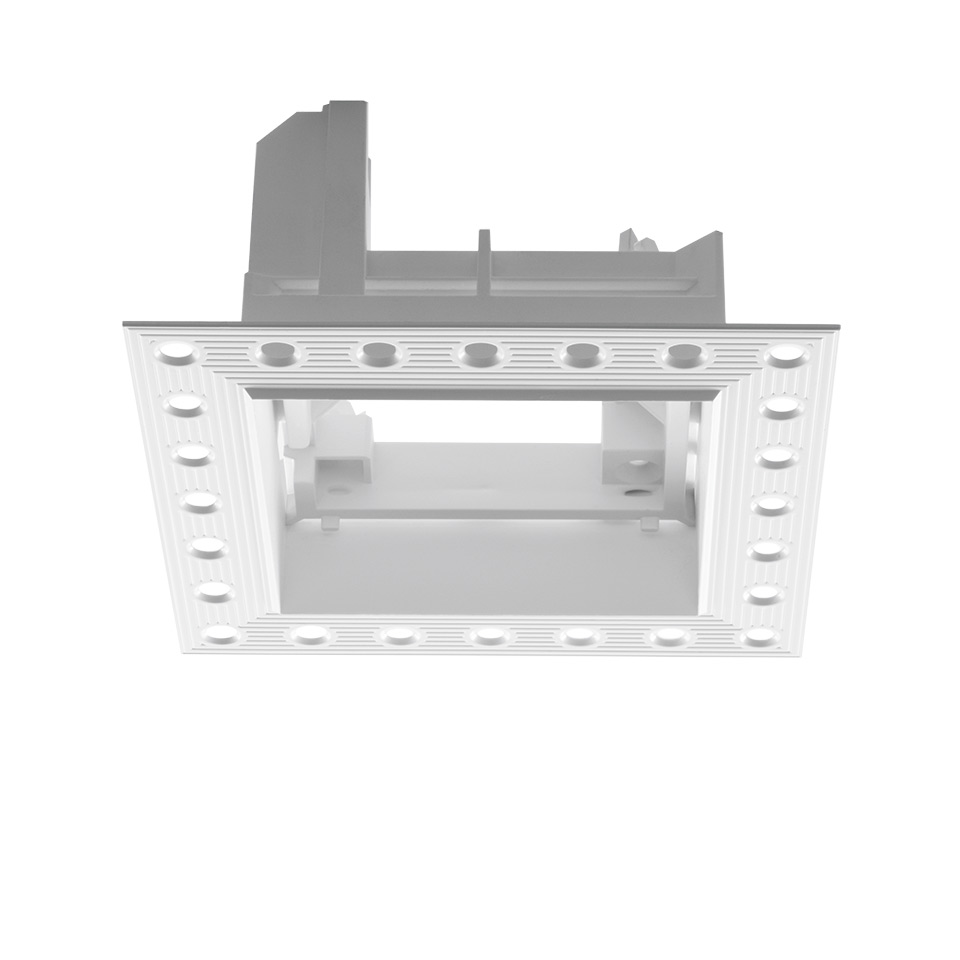 Frame for recessed installation for 3 optic units - Trimless - 103x271 - White