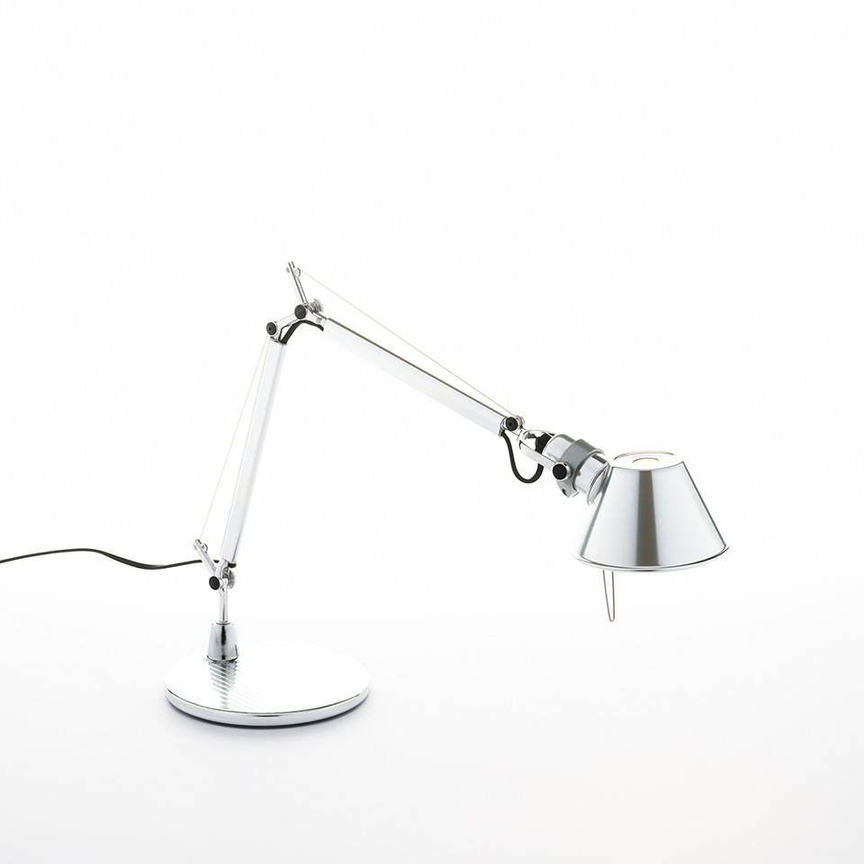 Tolomeo Micro Table - Polished aluminum - Body Lamp + Base